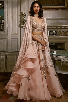 Peach Embroidered Lehenga Set by Dolly J