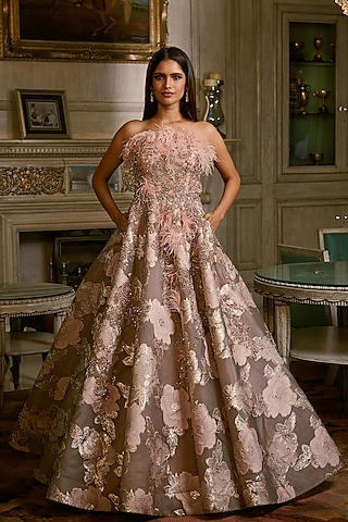 Smoke Grey Embroidered Gown by Dolly J