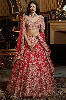Fuchsia Pink Embroidered Bridal Lehenga Set by Dolly J