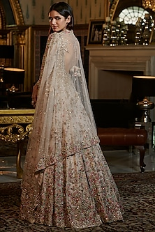 Ivory Embroidered Gown With Dupatta by Dolly J
