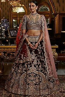 Burgundy Embroidered Bridal Lehenga Set With 2 Dupattas by Dolly J