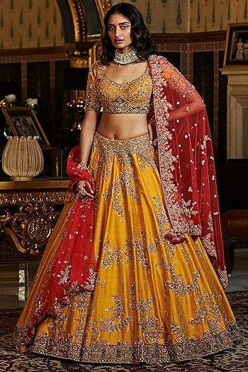 Yellow Embroidered Lehenga Set by Dolly J
