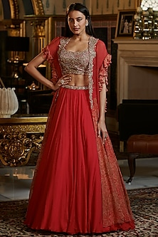 Red Embroidered Cape Set by Dolly J