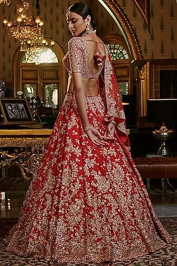 Red Embroidered Lehenga Set by Dolly J