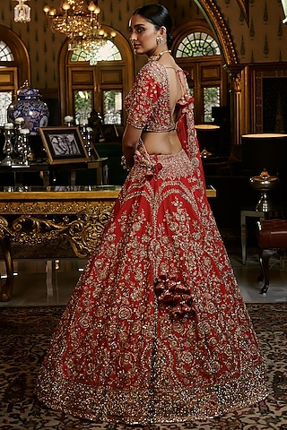 Red Embroidered Lehenga Set With Two Dupattas by Dolly J