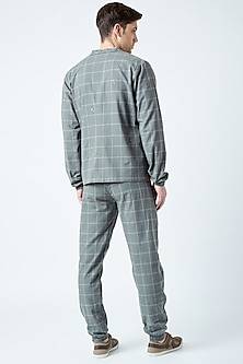 Grey Printed & Embroidered Cotton Jacket by Doodlage Men