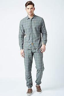 Grey Printed & Embroidered Shirt by Doodlage Men