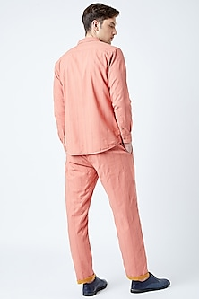 Peach Printed & Embroidered Shirt by Doodlage Men
