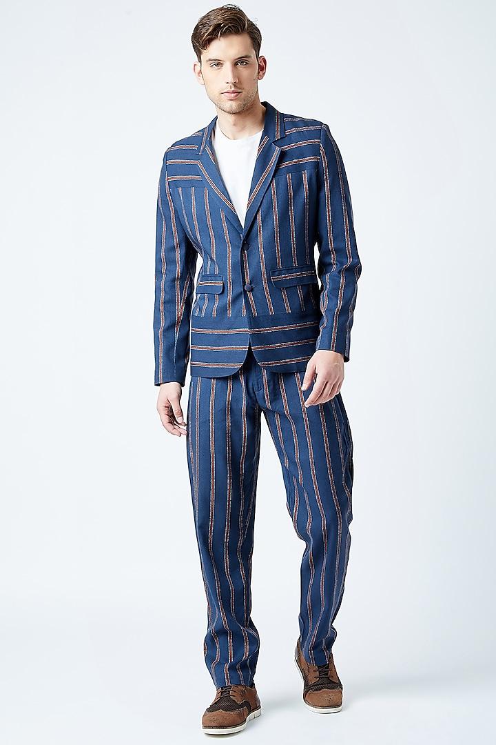 Cobalt Blue Printed Jacket by Doodlage Men