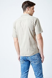 Beige Printed & Embroidered Shirt by Doodlage Men