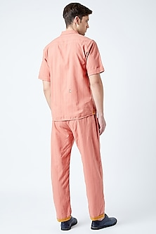 Peach Printed Embroidered Shirt by Doodlage Men