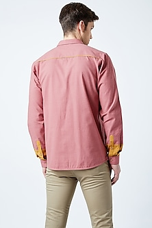 Red Printed Recycled Cotton Shirt by Doodlage Men