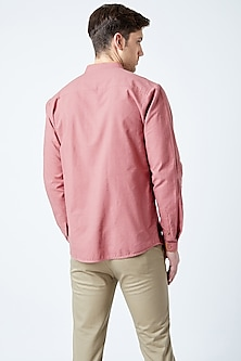 Red Printed Cotton Shirt by Doodlage Men