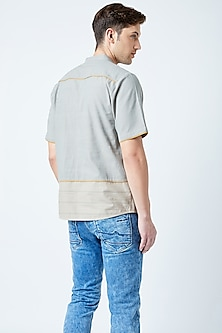 Grey Printed Recycled Cotton Shirt by Doodlage Men