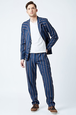 Blue & Red Striped Pants by Doodlage Men