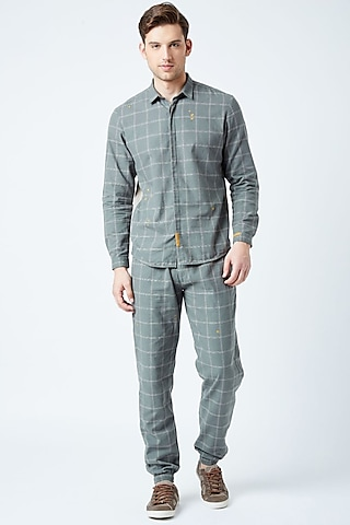 Grey Checkered Trouser Pants by Doodlage Men