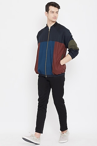 Multi Colored Patch Work Bomber Jacket by Doodlage Men