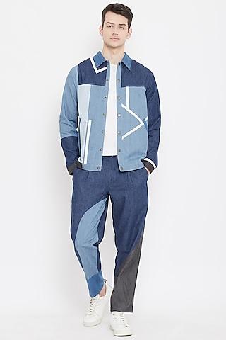 Cobalt Blue Patch Work Jacket by Doodlage Men