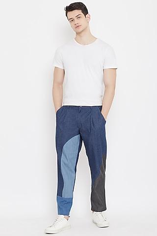 Cobalt Blue Patch Work Pants by Doodlage Men