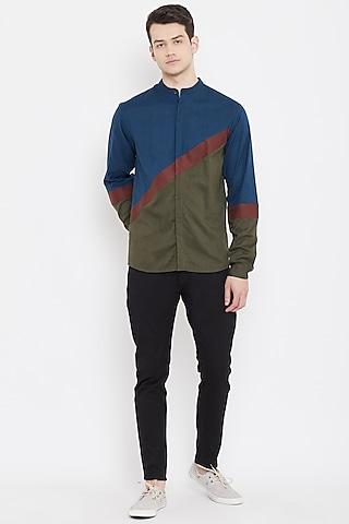 Cobalt Blue & Green Button Down Shirt by Doodlage Men