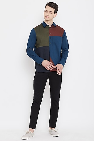 Multi Colored Patch Work Cotton Shirt by Doodlage Men