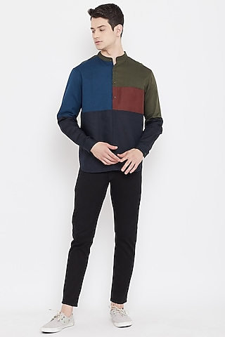 Multi Colored Shirt With Mandarin Collar by Doodlage Men
