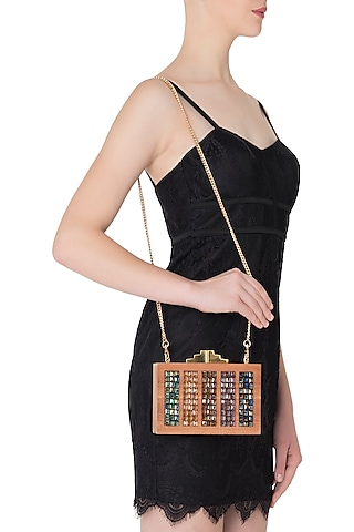 Multi-Colour Swarovski Crystal Cubes and Wooden Clutch by Duet Luxury
