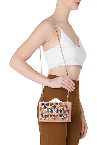 Multi-Colour Geometric Swarovski Crystal Cubes and Wooden Clutch by Duet Luxury