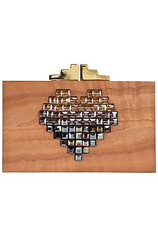 Multi-Coloured Heart Embellished Wooden Clutch by Duet Luxury