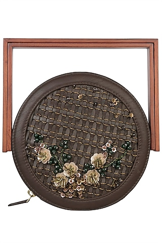 Brown Circular Sequins Embroidered Box Clutch by Duet Luxury