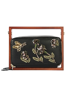 Black Wood and Leather Embroidered Clutch by Duet Luxury