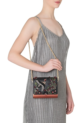 Charcoal Black Embroidered Flapover Clutch by Duet Luxury