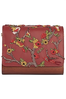 Red Embroidered Flapover Clutch by Duet Luxury