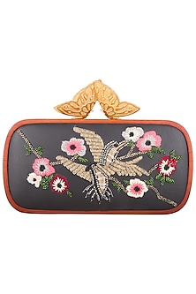 Black embroidered clutch bag by Duet Luxury