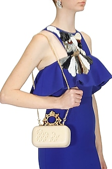 """Cream and gold """"Ornate"""" rectangular box clutch by Duet Luxury"""