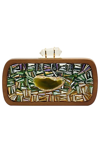 Walnut and green rectangular box clutch by Duet Luxury