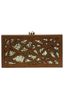 "Walnut and gold ""Cut it out"" rectangular box clutch by Duet Luxury"