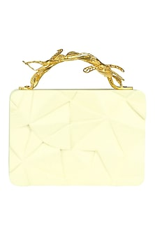 Cream Asymmetric Grasshopper Clutch by Duet Luxury