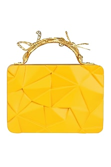 Yellow Asymmetric Grasshopper Clutch by Duet Luxury