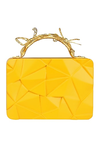 Yellow Asymmetric Grasshopper Clutch by Duet Luxury