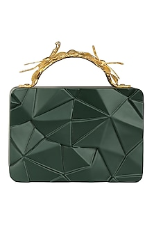 Olive Green Asymmetric Grasshopper Clutch by Duet Luxury