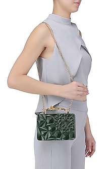 Olive Green Floral Firefly Clutch by Duet Luxury