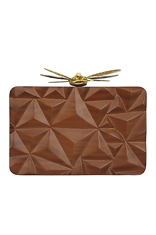 Dark Brown Triangle Dragonfly Clutch by Duet Luxury