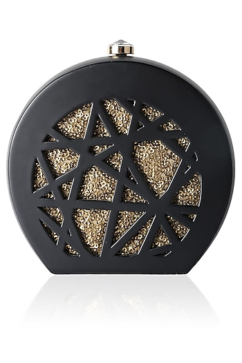Black Round Box Clutch With Gold Sequins Insert by Duet Luxury