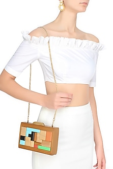 Multicolor Blocks Wood Frame Rectangular Box Clutch by Duet Luxury