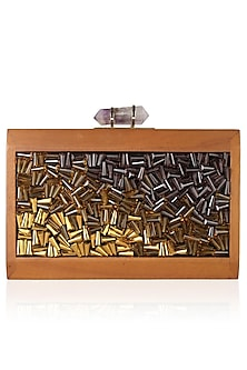 Walnut Frame Gold, Brown And Purple Crystals Embellished Rectangle Clutch by Duet Luxury