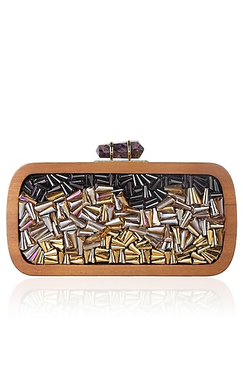 Walnut Frame Black And Purple Crystals Embellished Rectangular Box Clutch by Duet Luxury