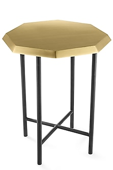 Golden & Black Metal Octagon Table by Metl & Wood