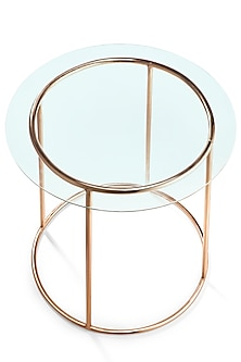 Rose Gold Round Table With Glass by Metl & Wood