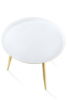 White & Golden Three Legged Table by Metl & Wood